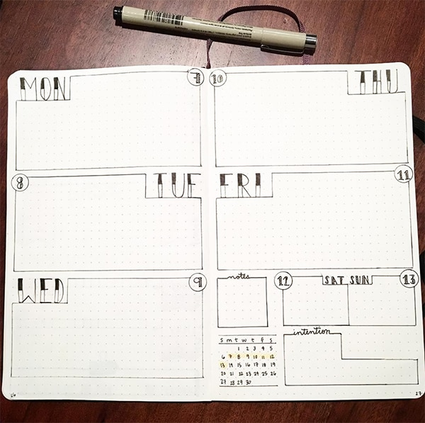 19 Bullet Journal Ideas For Weekly Spreads Bullet Journal Addict