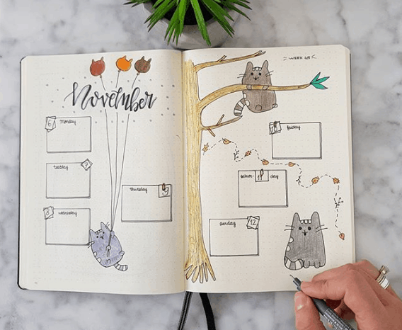 Weekly Spreads for Bullet Journals - Spreads for Cat Lovers