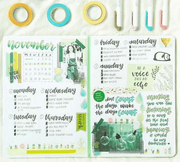 Weekly Spreads for Bullet Journals - Week in Green