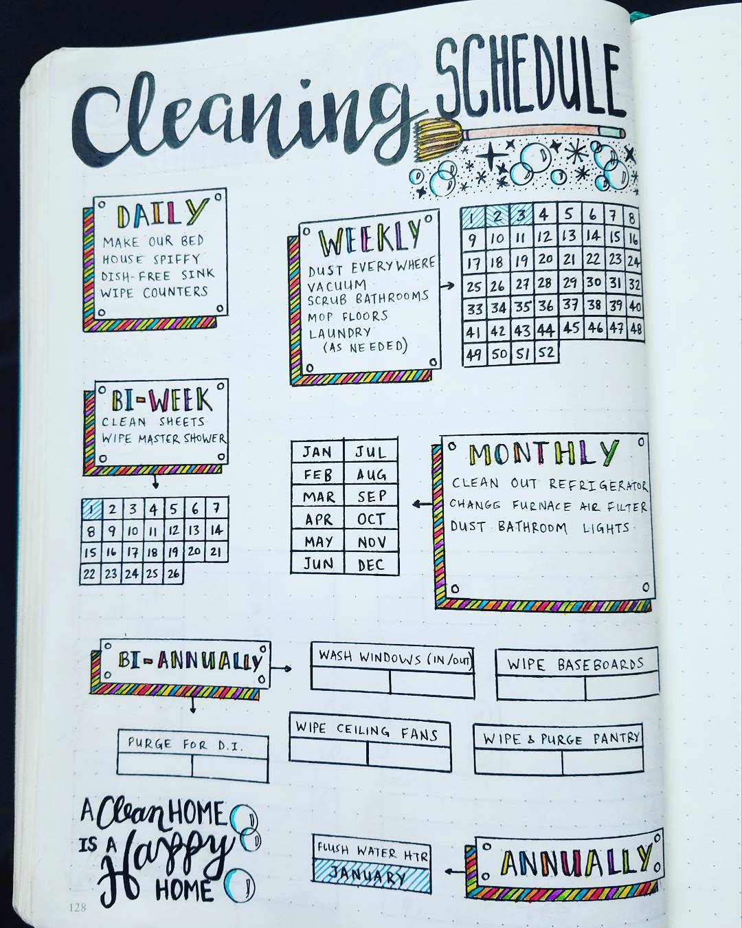 BULLET JOURNAL CLEANING CALENDAR