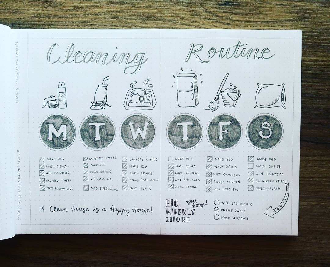 Bullet Journal Cleaning Routine