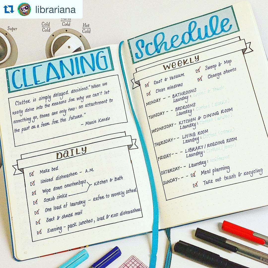 Daily Cleaning Schedule Bullet Journal Spread