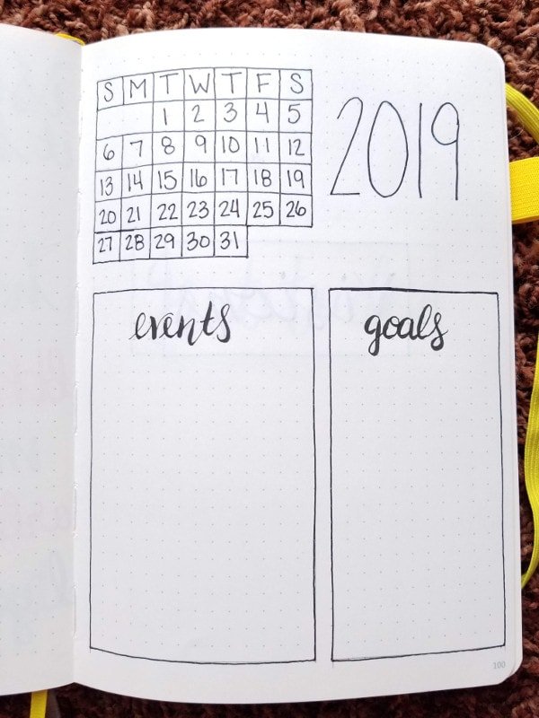 Minimalist Bullet Journal Set Up - January Monthly Spread