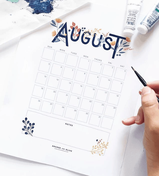 Archer & Olive August Bullet Journal Monthly Spread