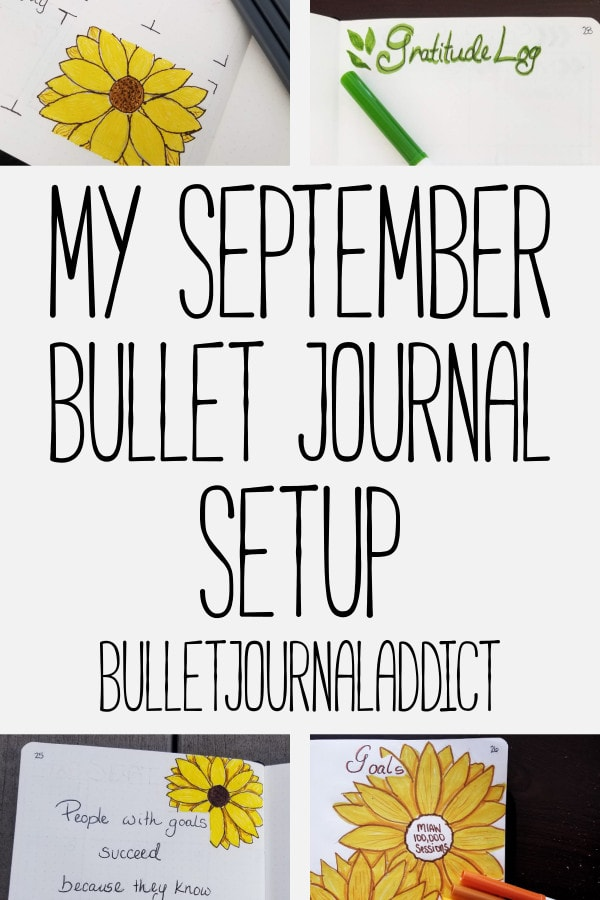 Fall Bullet Journal Ideas - Sunflower Bullet Journal Spreads - Fall Bullet Journal Spreads - My September Bullet Journal Setup