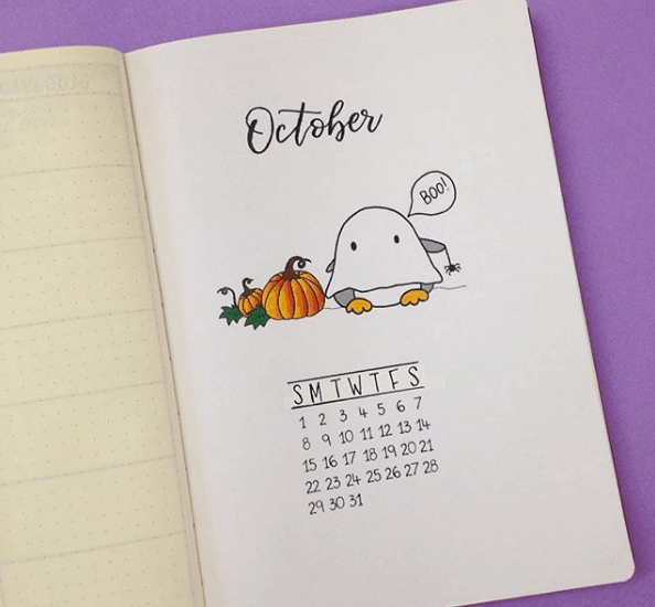 Ghostly October Monthly Spread