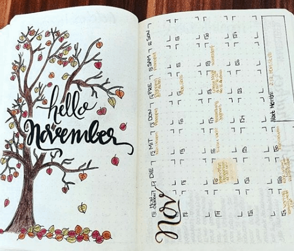 Hello November One Page Monthly Spread
