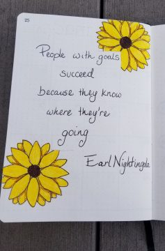 September Bullet Journal Setup - Sunflower Goals Quote