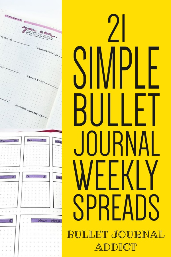 21 Simple Bullet Journal Weekly Spreads