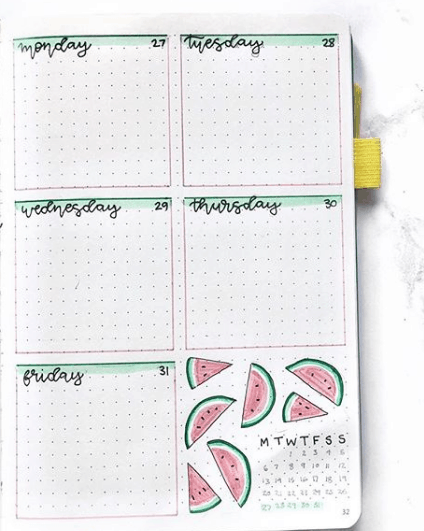 b.bulletjournal One Page Weekly Spread