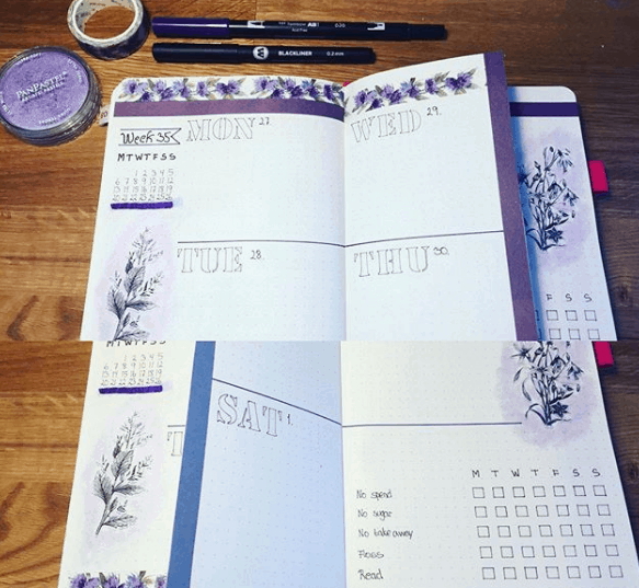 bujo_mal_sam Purple Dutch Door Weekly Spread