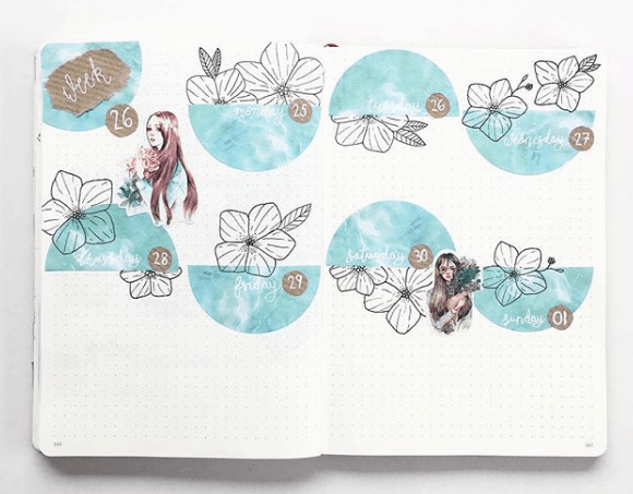 bulletjournal_charly Black and White with Blue Weekly Spread