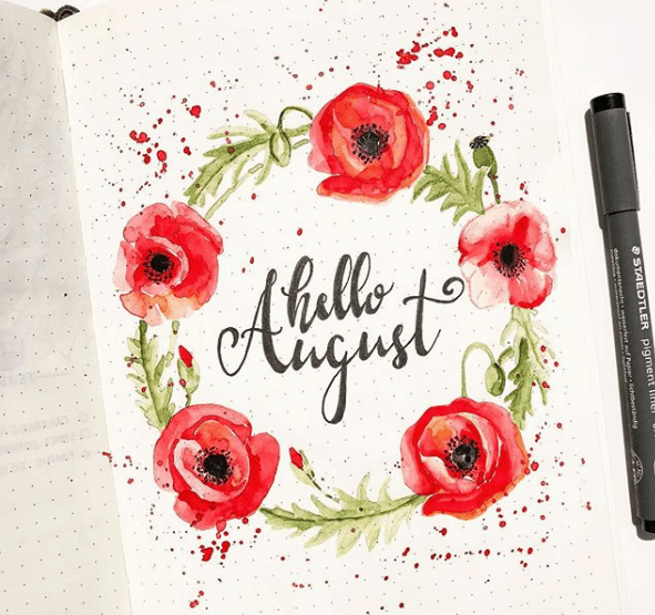 constancechel Hello August Bullet Journal Spread