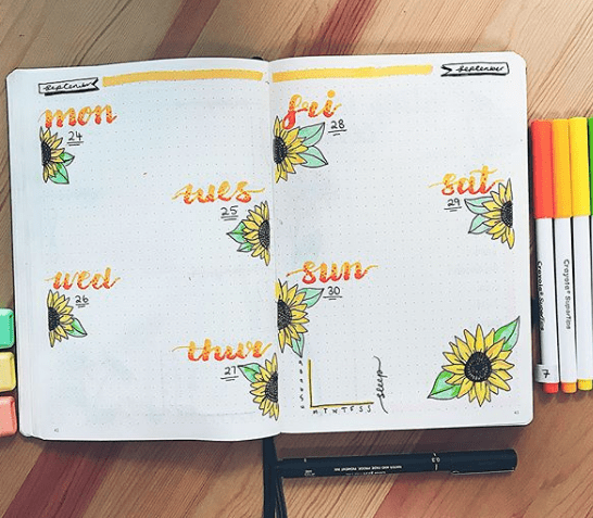 designbymarinaviktoria Sunflower Weekly Spread