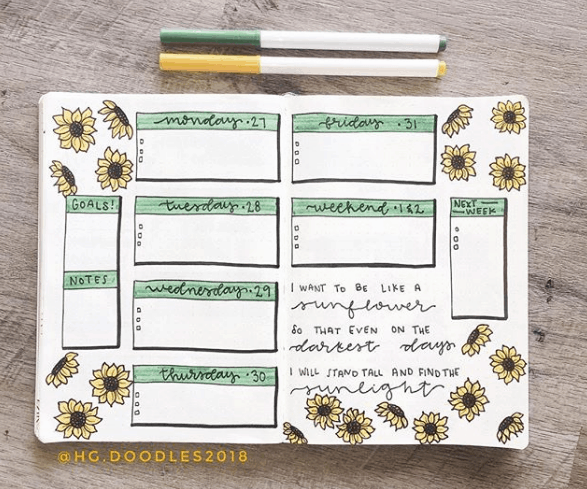 hg.doodles2018 Simple Sunflowers Weekly Spread