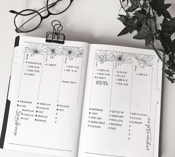 journalbymalin Minimalist Floral Weekly Spread