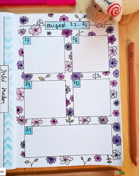 lizdesign Simple Floral Background Weekly Spread