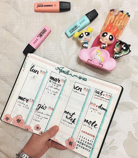 redhead_bulletjournal Pretty Pink Weekly Spread