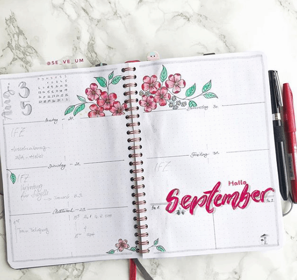se_ve_um Red Flowers Weekly Spread