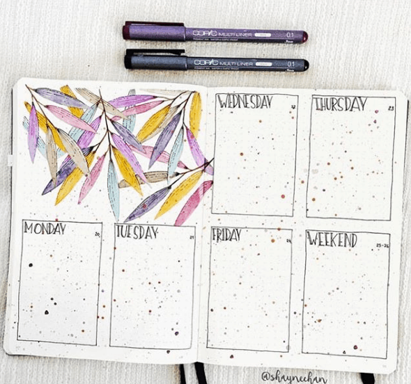 shaynechan Colorful Splatter Weekly Spread