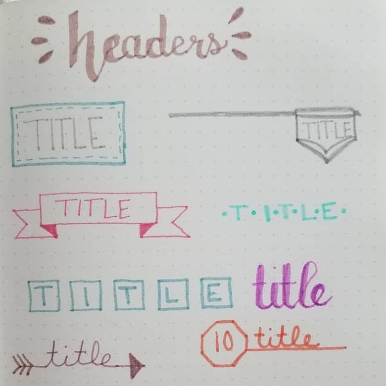 Bullet Journal Banners and Headers Ideas