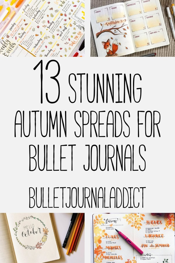 Bullet Journal Fall Spreads - Autumn Spreads, Leaf Doodles, Fall Themes for your Bullet Journal - 13 Stunning Autumn Spreads For Bullet Journals