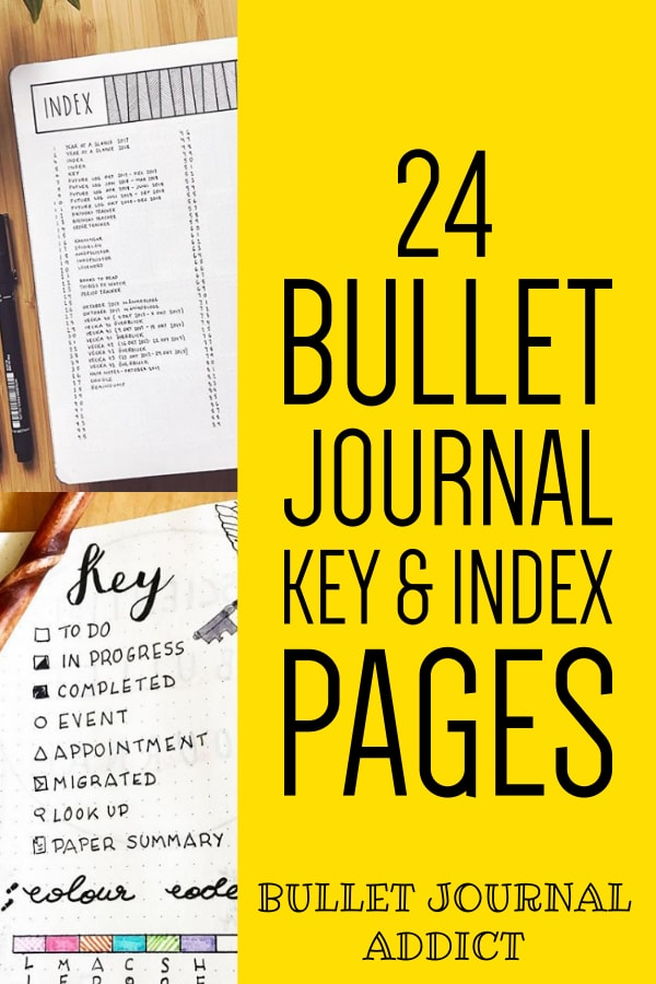 24 Bullet Journal Key And Index Pages