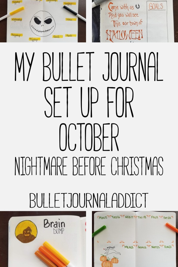 Bullet Journal Theme Ideas For Monthly Setups, Spreads, And Layouts - Nightmare Before Christmas Bujo Theme - My Bullet Journal Set Up For October Nightmare Before Christmas