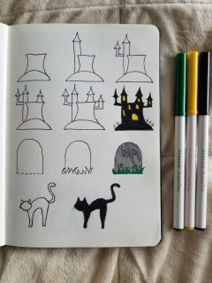Haunted House, Grave, and Black Cat Doodle