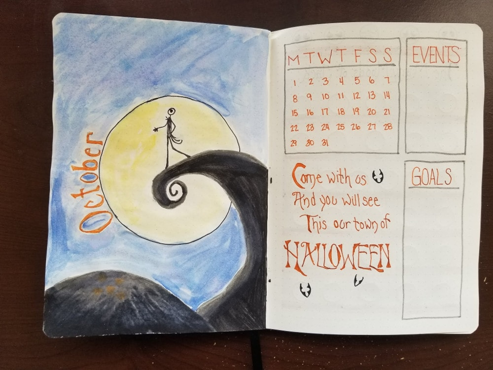 Nightmare Before Christmas Monthly Spread