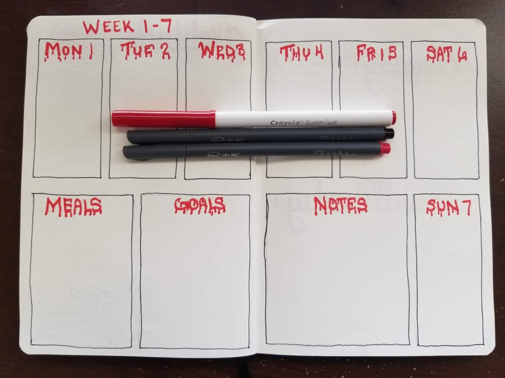Bloody Dates Weekly Spread 1