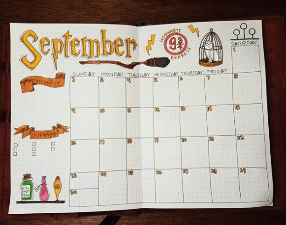 bujo.for.me Harry Potter Doodles on Monthly Spread