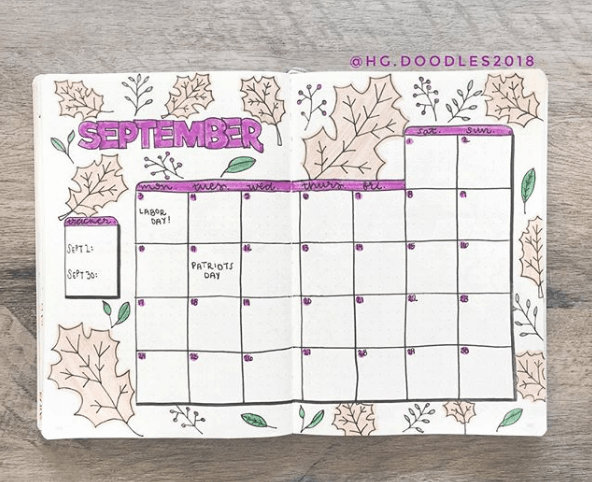 hg.doodles2018 Large Leaves Monthly Spread