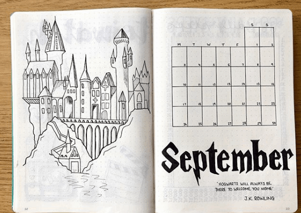 mrsmplans Hogwarts Will Always Be Home Monthly Spread