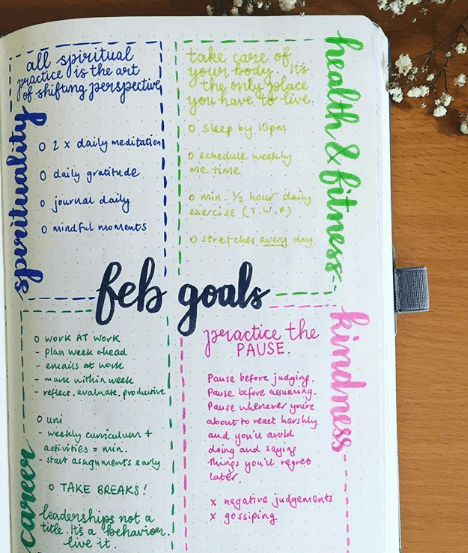 rainbow.bujo Goals For Each Area Of Your Life
