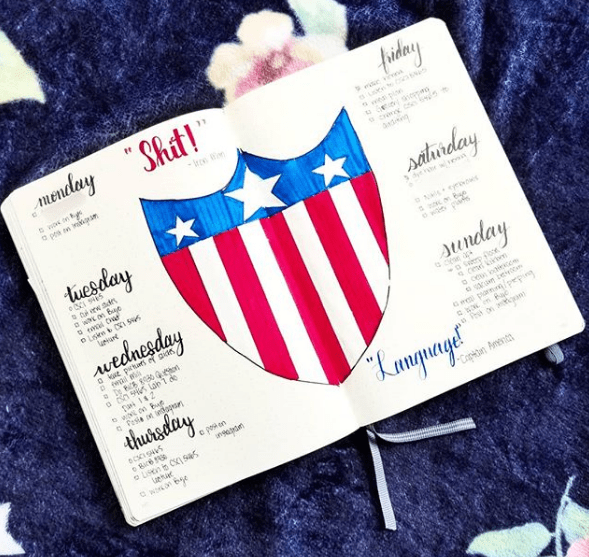 the.nerdy.journaler Captain America Weekly Spread
