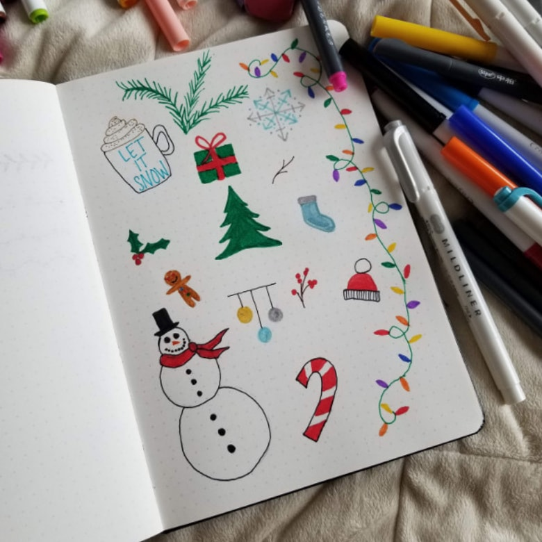 40 Bullet Journal Winter Doodle Ideas
