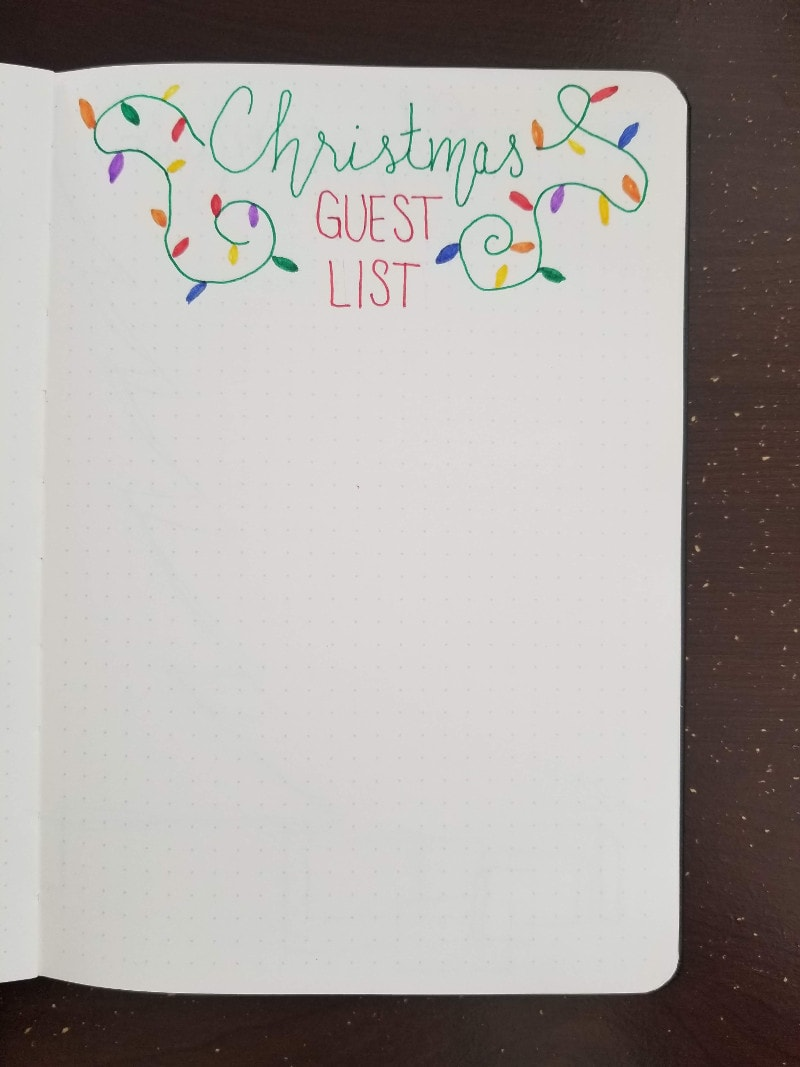Bullet Journal Christmas Party Guest List