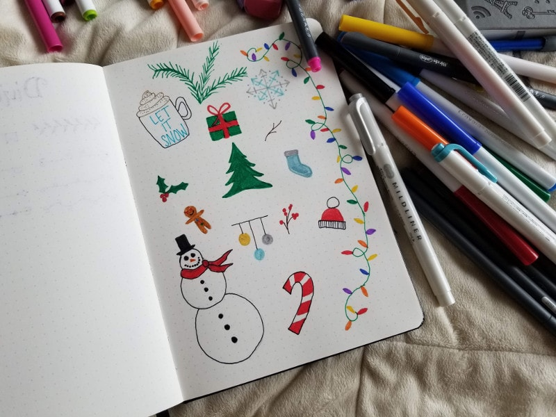 Bullet Journal Winter Doodle Ideas