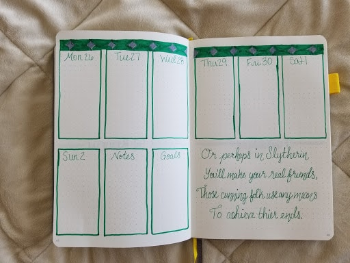 Harry Potter Spreads - Slytherin Weekly Spread