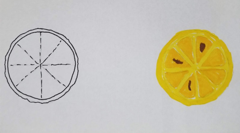 How To Draw Fruit Step by Step - Lemon Slice