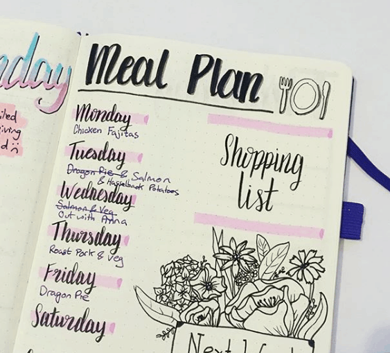 lalalauren.creates Simple Bullet Journal Meal Plan Layout