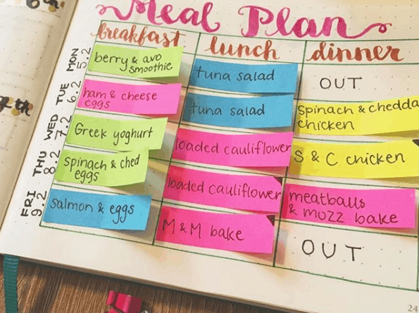 moojo.bujo Color Coded Half Page Post It Meal Plan