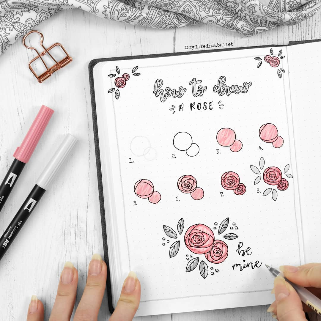 my.life.in.a.bullet Easy Rose Sketches