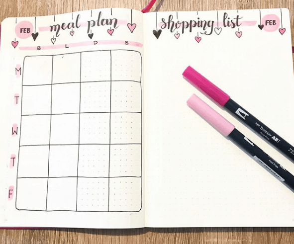 thebulletjournal Heart Theme Meal Plan