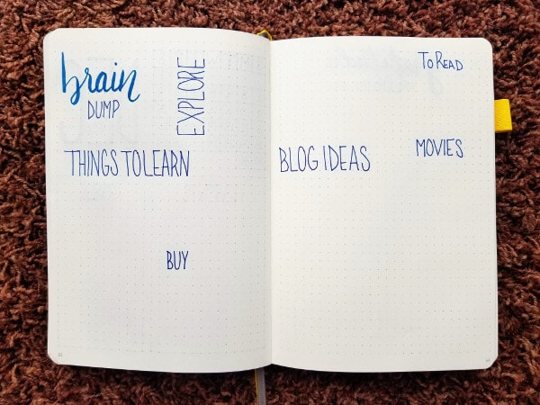 Bullet Journal Brain Dump Set Up