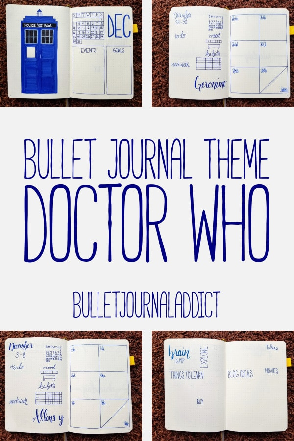 Bullet Journal Theme - Doctor Who - Monthly Layout for Doctor Who Bullet Journal Theme - Monthly Spreads - December - Bullet Journal Theme Doctor Who