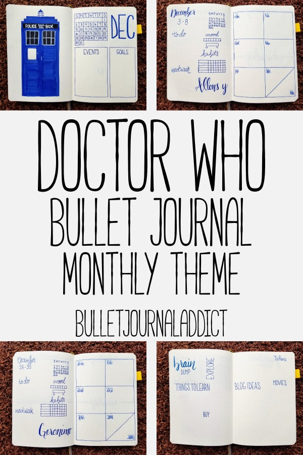 Bullet Journal Theme - Doctor Who - Monthly Layout for Doctor Who Bullet Journal Theme - Monthly Spreads - December - Doctor Who Bullet Journal Monthly Theme