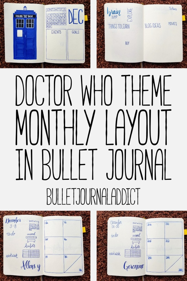 Bullet Journal Theme - Doctor Who - Monthly Layout for Doctor Who Bullet Journal Theme - Monthly Spreads - December - Doctor Who Theme Monthly Layout In Bullet Journal
