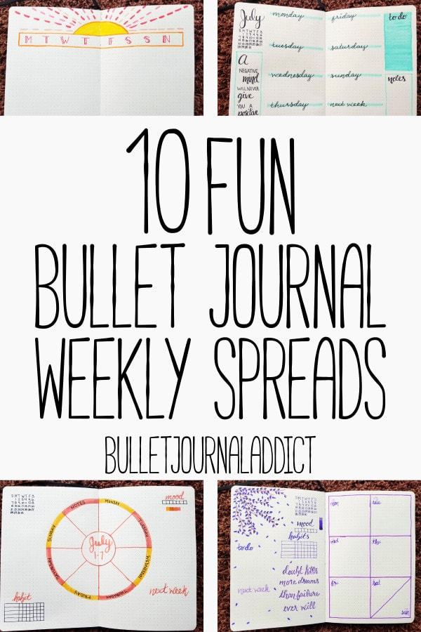 Bullet Journal Weekly Spread Layout and Ideas - Two Page and One Page Weekly Spreads for Bullet Journals - 10 Fun Bullet Journal Weekly Spreads